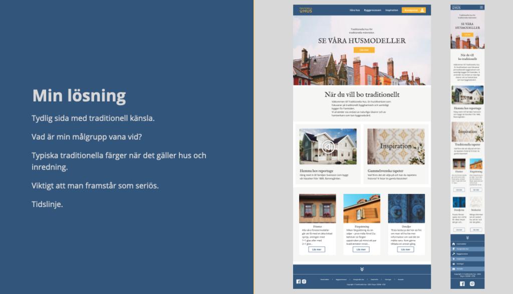 Bildvisnings utdrag från presentation föreställande två skärmdumpar av en hemsida både i desktop och mobil version