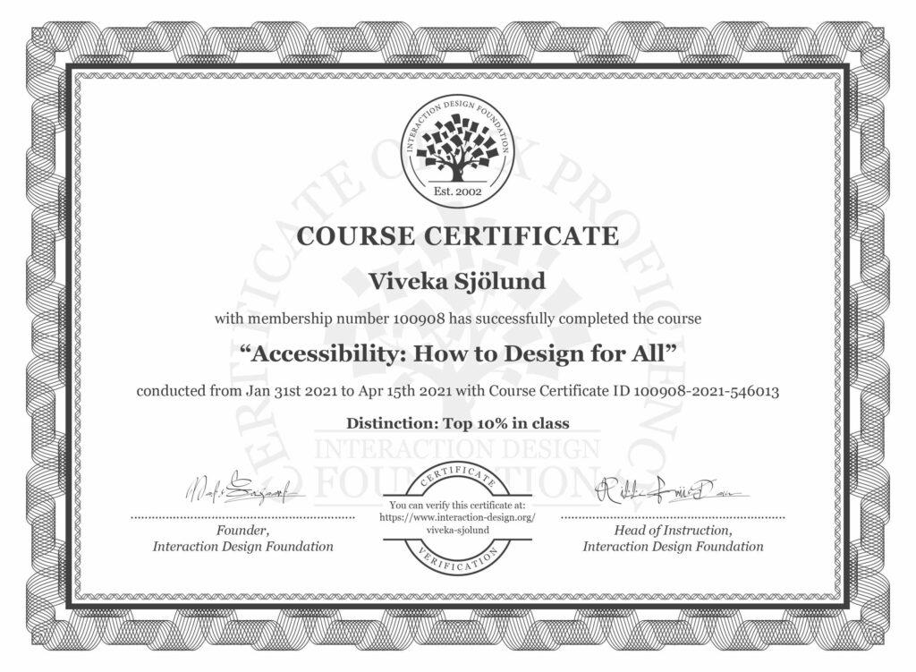 certifikat från interaction design foundation